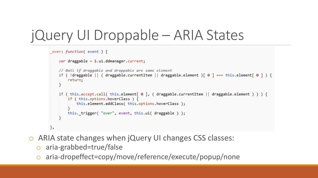jQuery UI Droppable – ARIA States o ARIA state ...