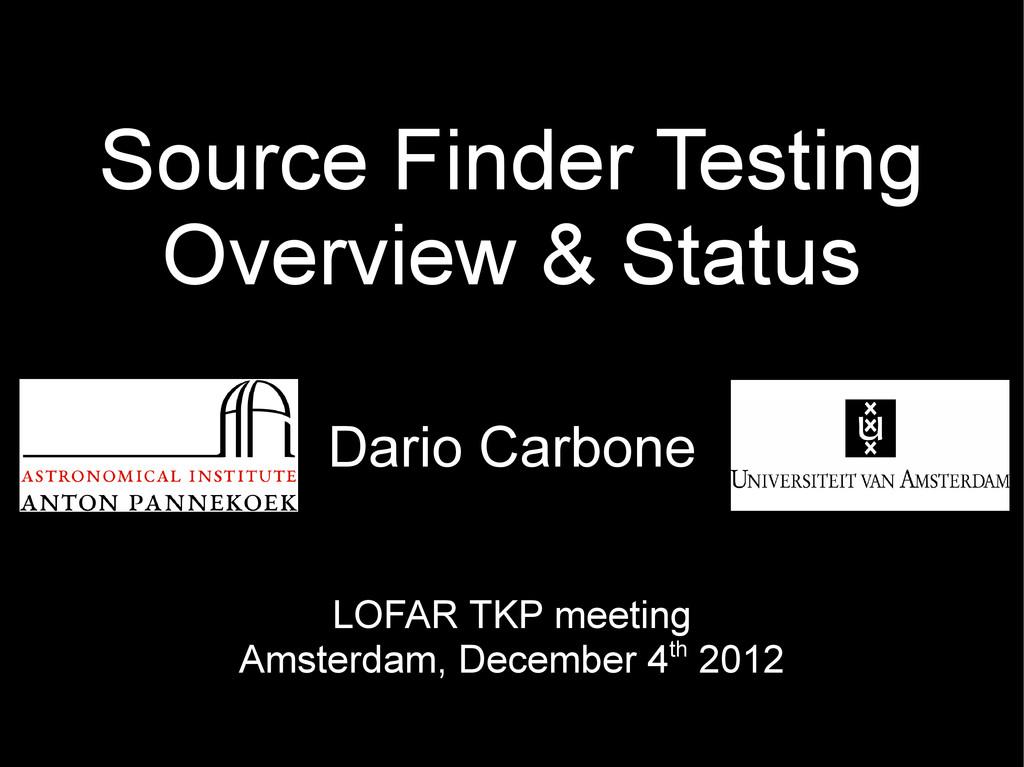 LOFAR TKP meeting Amsterdam, December 4th 2012 ...
