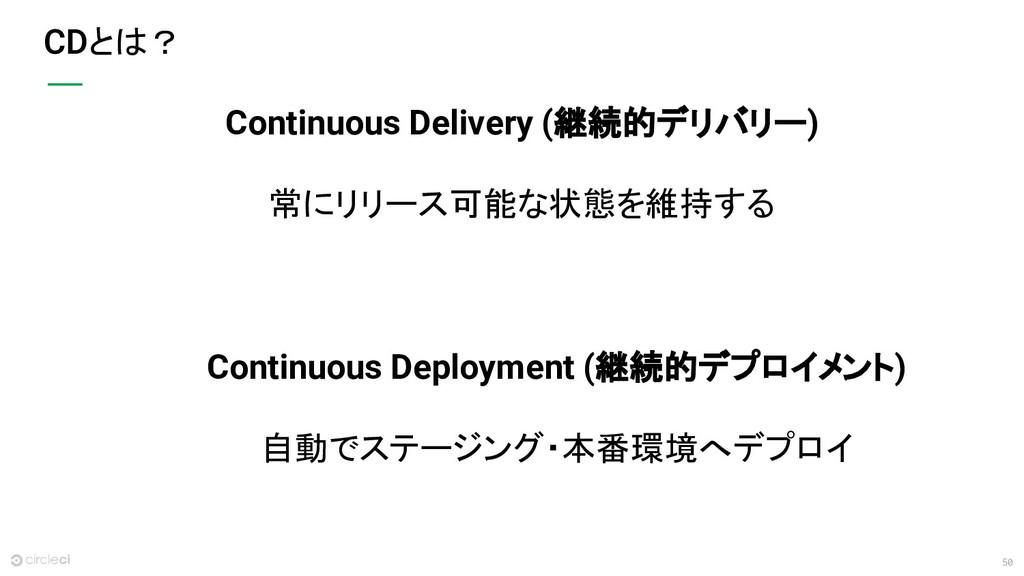 50 とは? Continuous Deployment (継続的デプロイメント) 自動でステ...