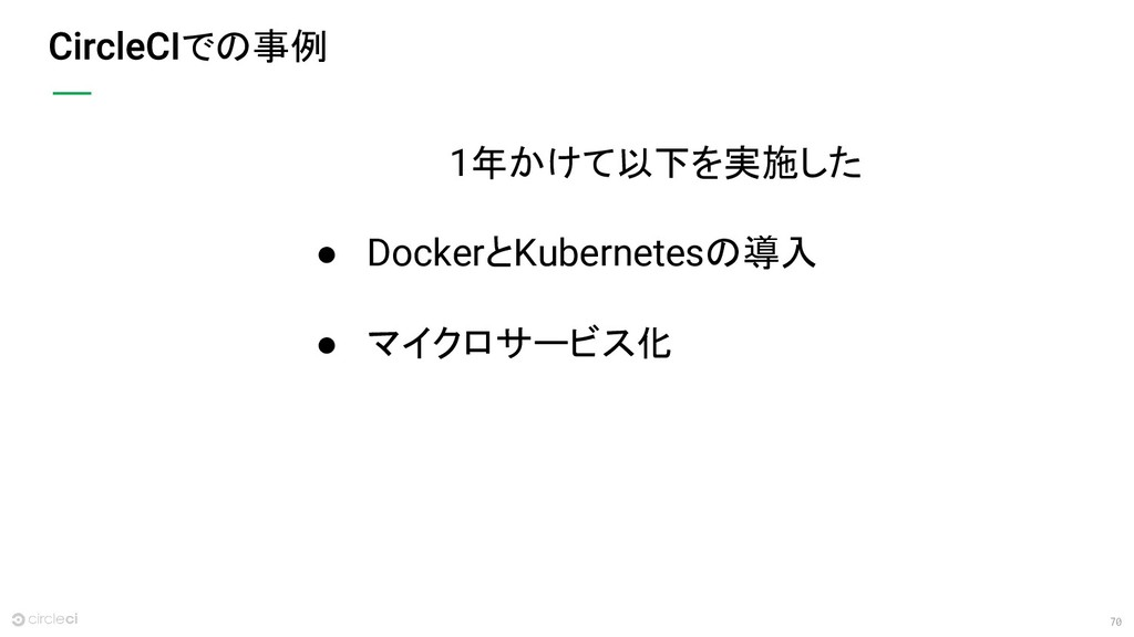 70 での事例 1年かけて以下を実施した ● DockerとKubernetesの導入 ● マ...