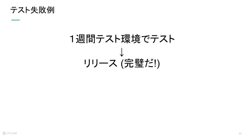 77 テスト失敗例 1週間テスト環境でテスト ↓ リリース (完璧だ!)