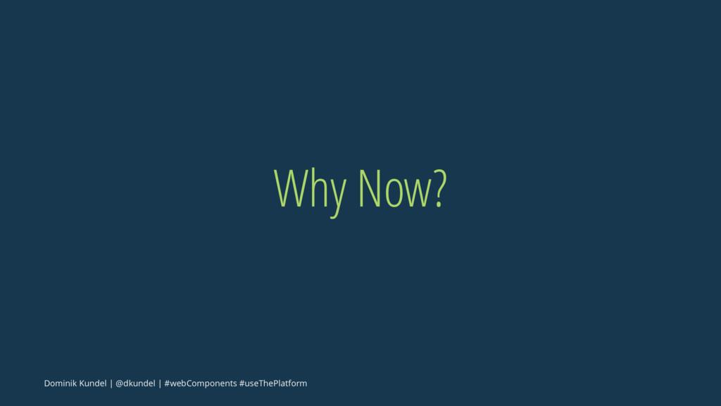 Why Now? Dominik Kundel | @dkundel | #webCompon...
