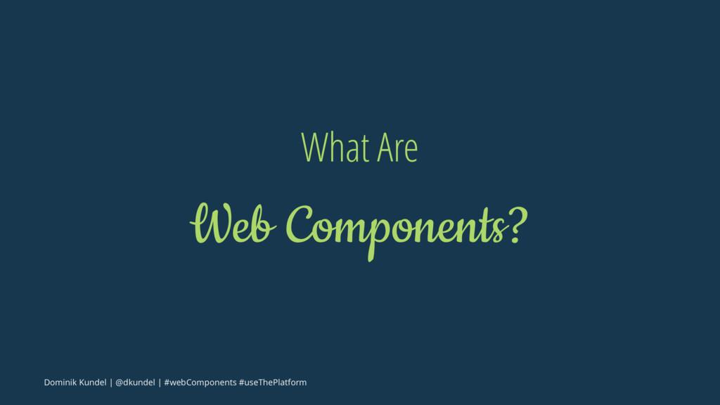 What Are Web Components? Dominik Kundel | @dkun...