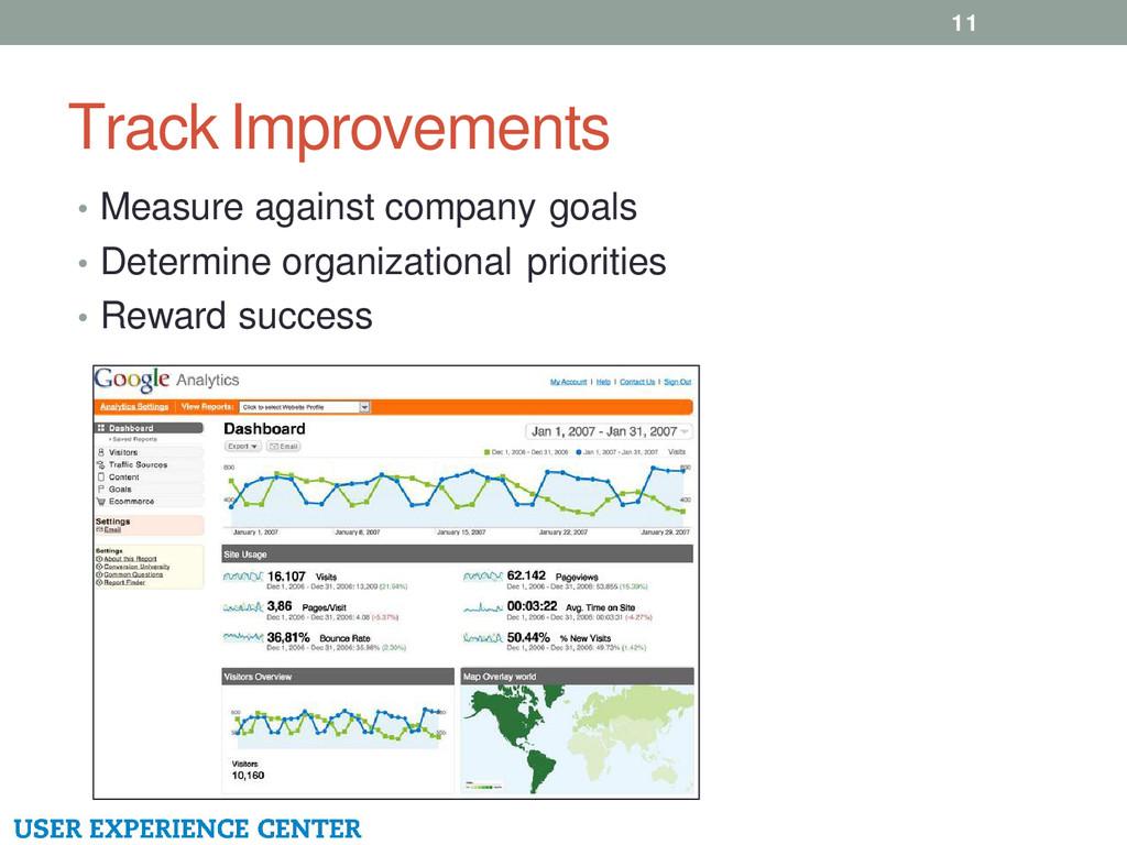 Track Improvements 11 • Measure against company...