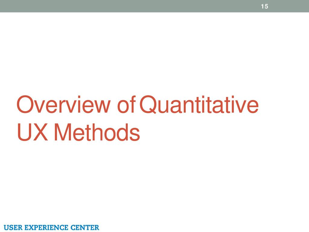 Overview of Quantitative UX Methods 15
