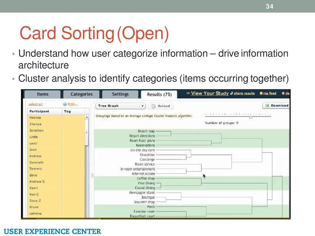 Card Sorting (Open) 34 • Understand how user ca...