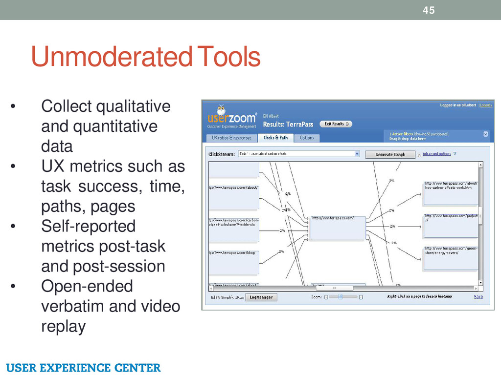 Unmoderated Tools 45 • Collect qualitative and ...