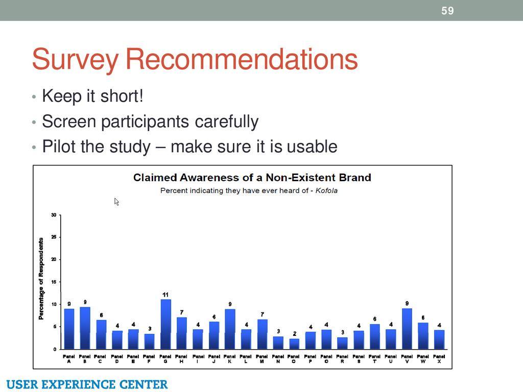 Survey Recommendations 59 • Keep it short! • Sc...