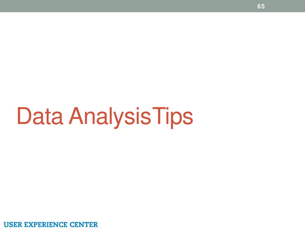 Data Analysis Tips 65
