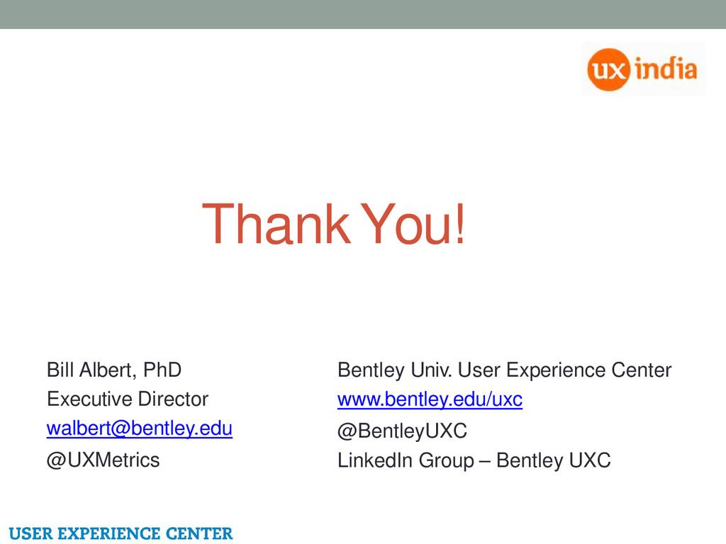 Thank You! Bill Albert, PhD Executive Director ...