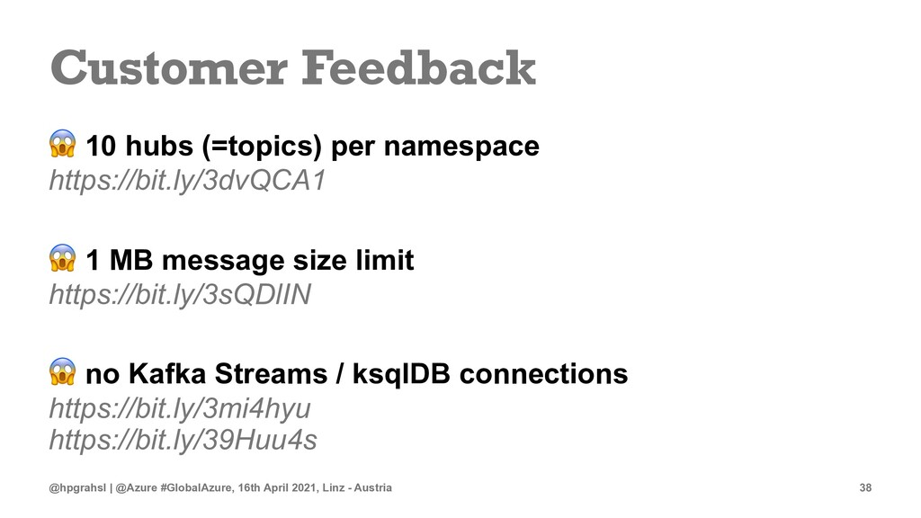 Customer Feedback ! 10 hubs (=topics) per names...
