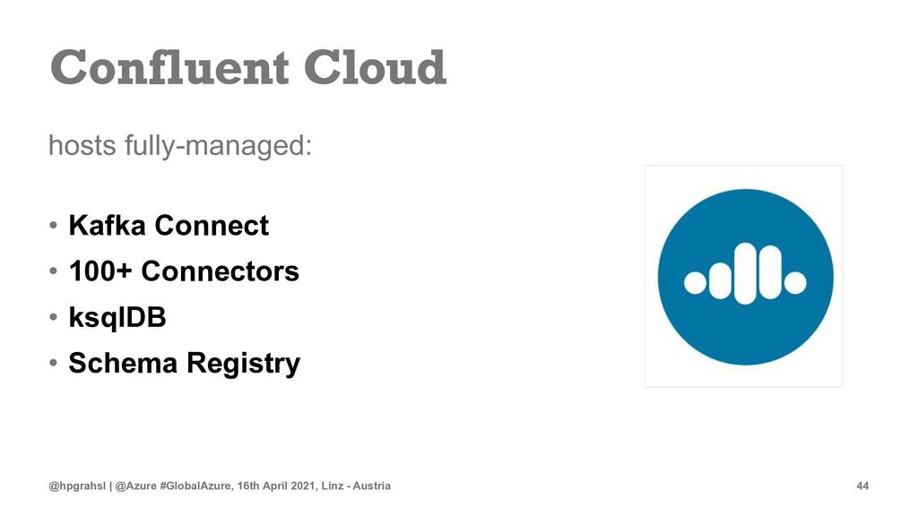 Confluent Cloud hosts fully-managed: • Kafka Co...