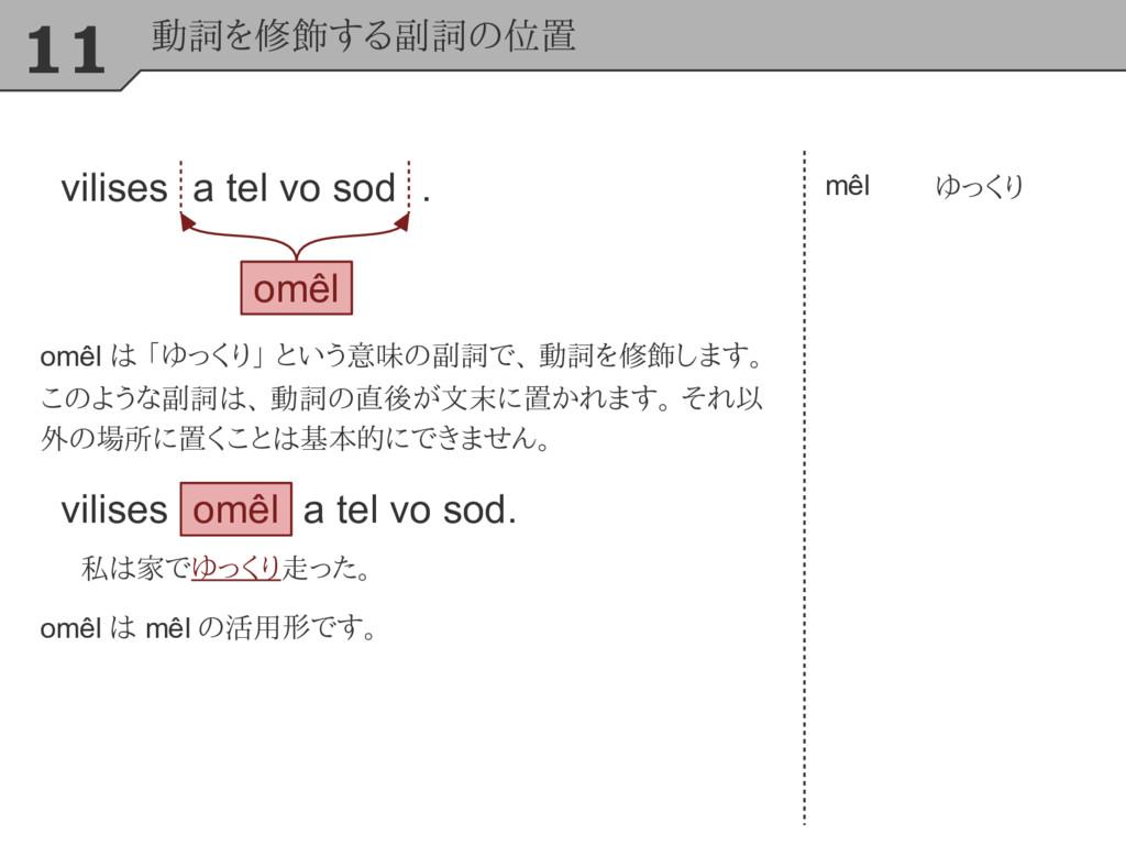 11 動詞を修飾する副詞の位置 mêl ゆっくり omêl は 「ゆっくり」 という意味の副詞...