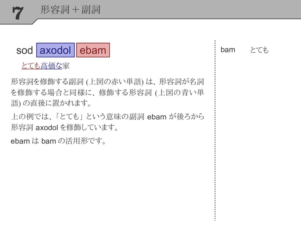 7 形容詞 + 副詞 axodol とても高価な家 bam とても ebam 形容詞を修飾する...