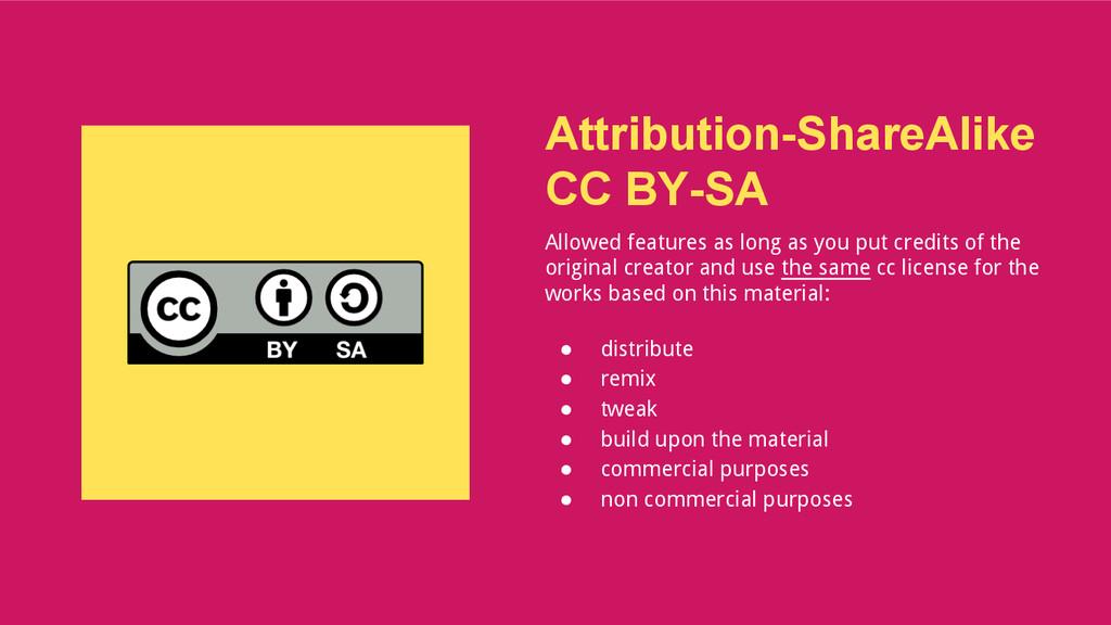 Attribution-ShareAlike CC BY-SA Allowed feature...