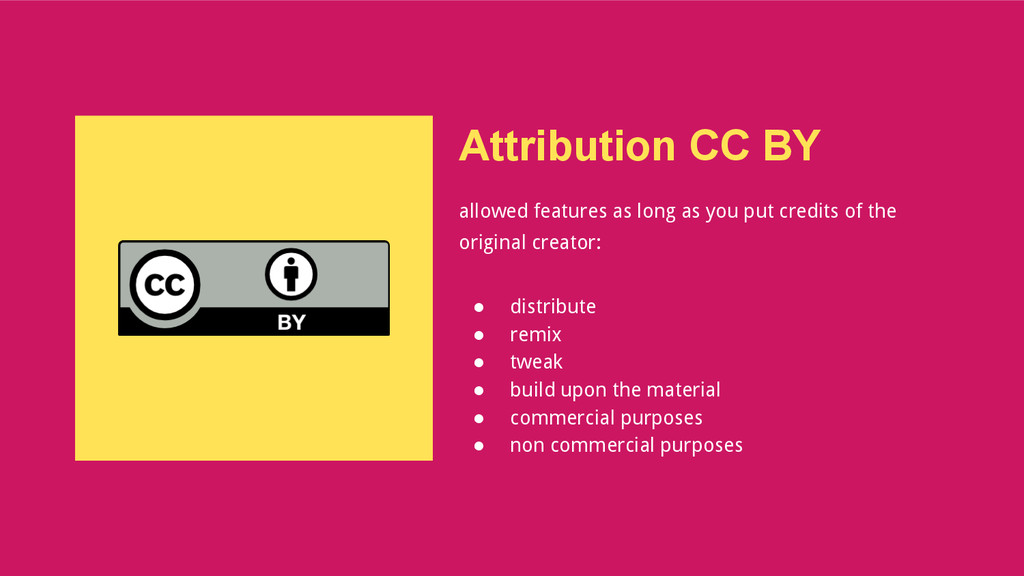 Attribution CC BY allowed features as long as y...