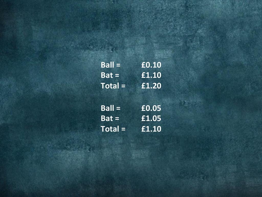 Ball =  Bat =  Total =  £0.10...
