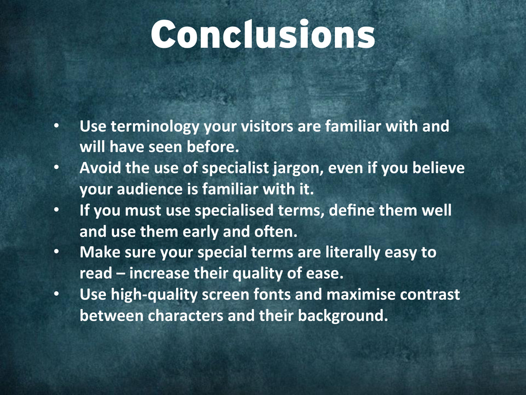 • Use terminology your visitors ar...