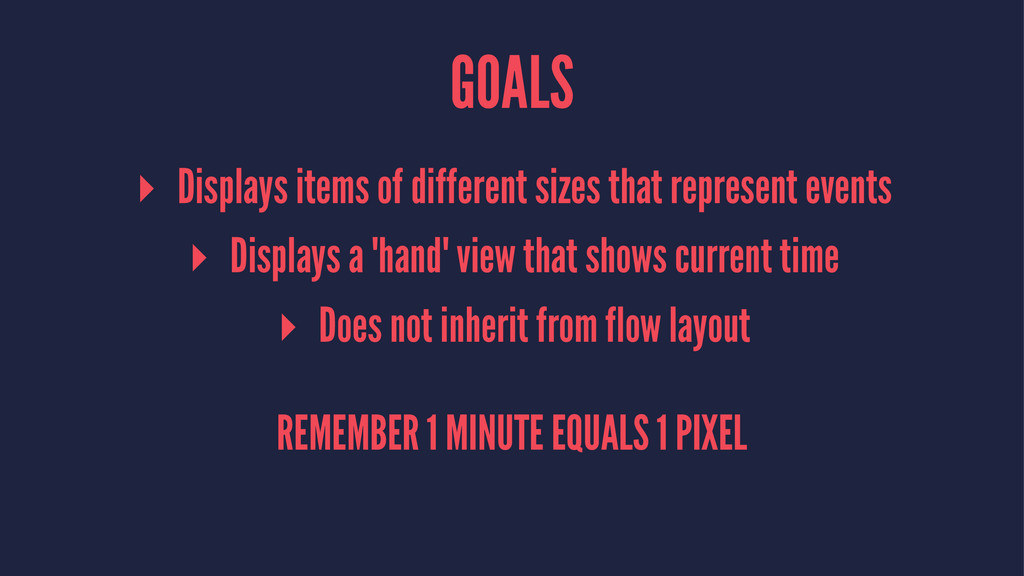 GOALS ▸ Displays items of different sizes that ...