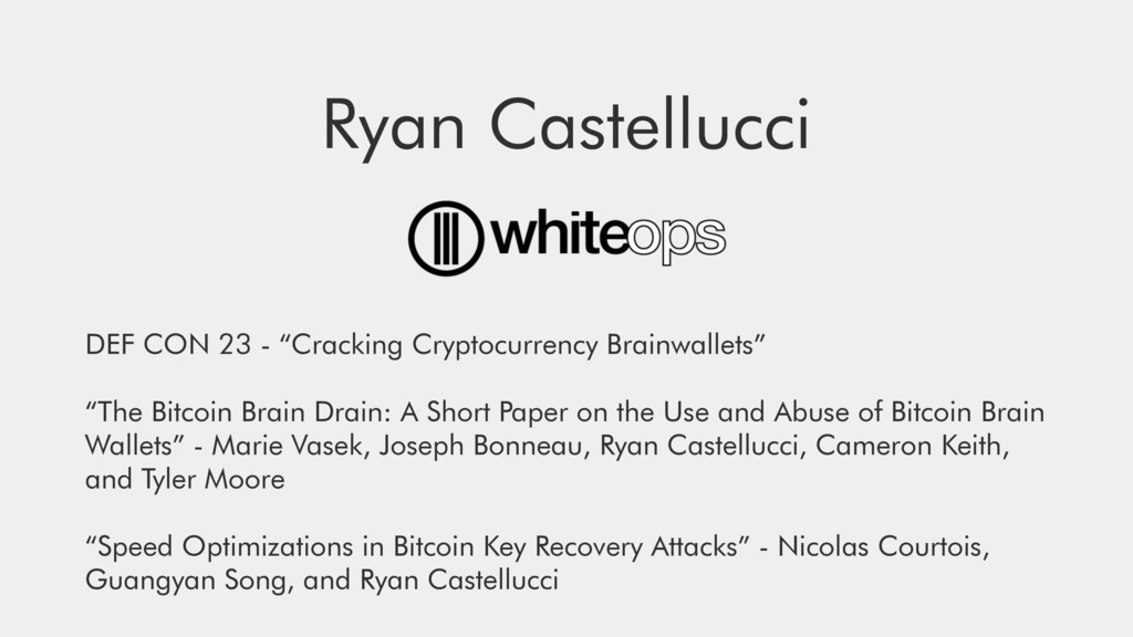 "Ryan Castellucci DEF CON 23 - ""Cracking Cryptoc..."