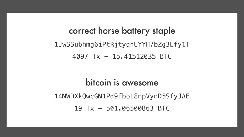correct horse battery staple 1JwSSubhmg6iPtRjty...