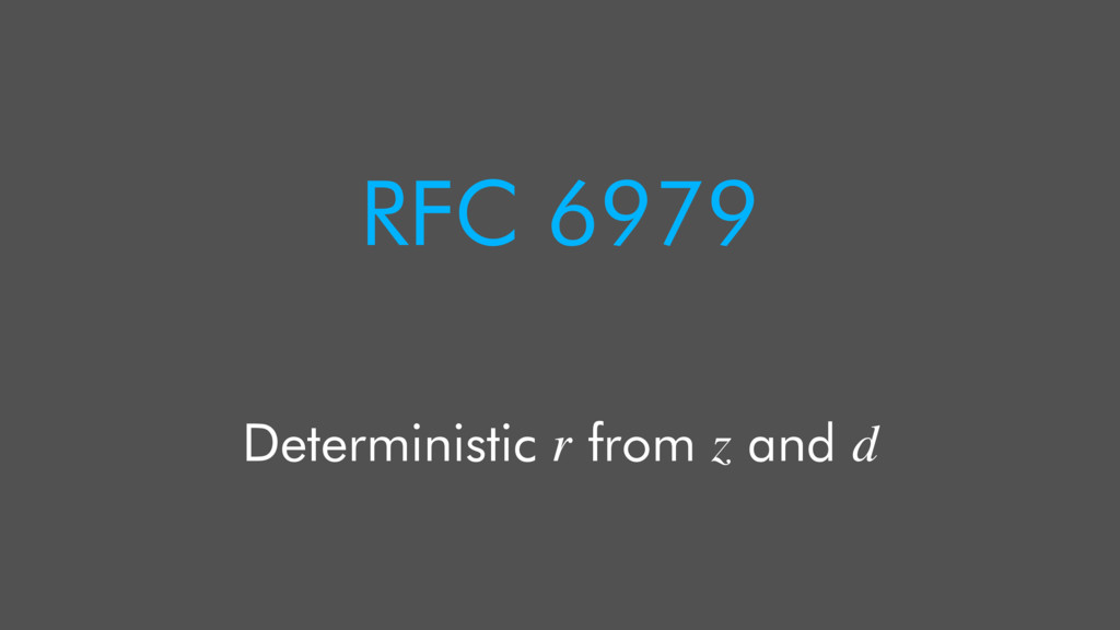 RFC 6979 Deterministic r from z and d