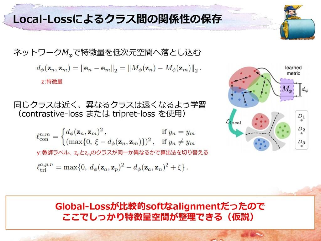 Local-Lossによるクラス間の関係性の保存 ネットワークM φ で特徴量を低次元空間へ落...