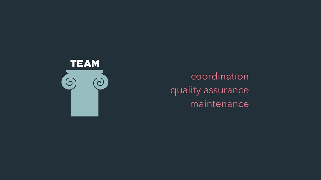 team • coordination • quality assurance • maint...