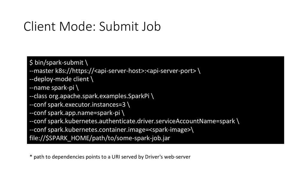 Client Mode: Submit Job $ bin/spark-submit \ --...