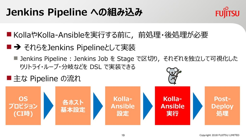 Jenkins Pipeline への組み込み  KollaやKolla-Ansibleを実...