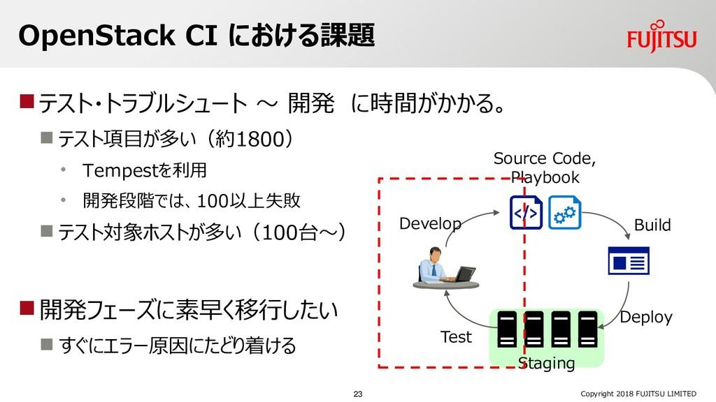OpenStack CI における課題 テスト・トラブルシュート ~ 開発 に時間がかかる。...