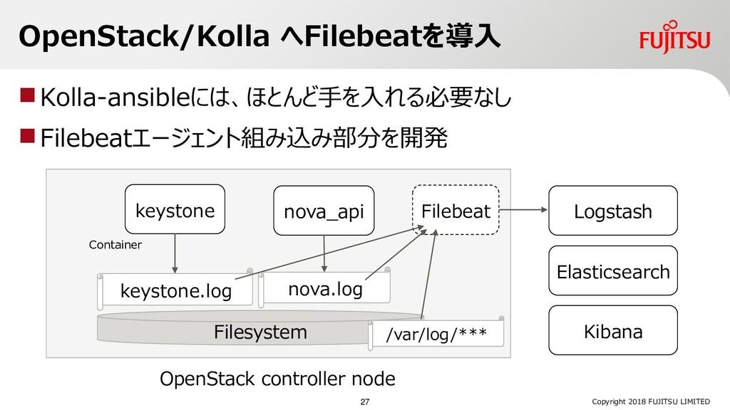 OpenStack/Kolla へFilebeatを導入 Kolla-ansibleには、ほ...