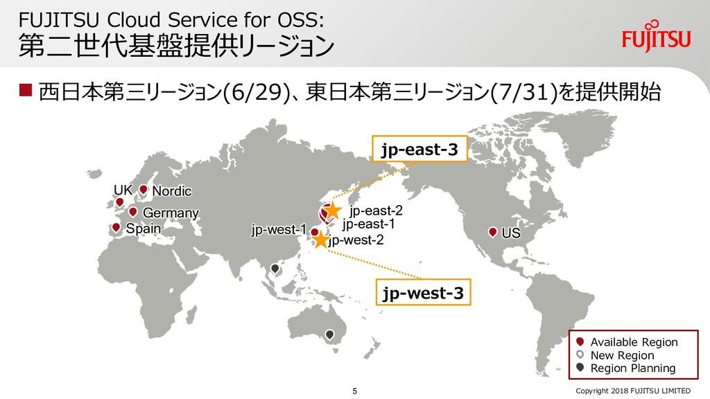 FUJITSU Cloud Service for OSS: 第二世代基盤提供リージョン  ...