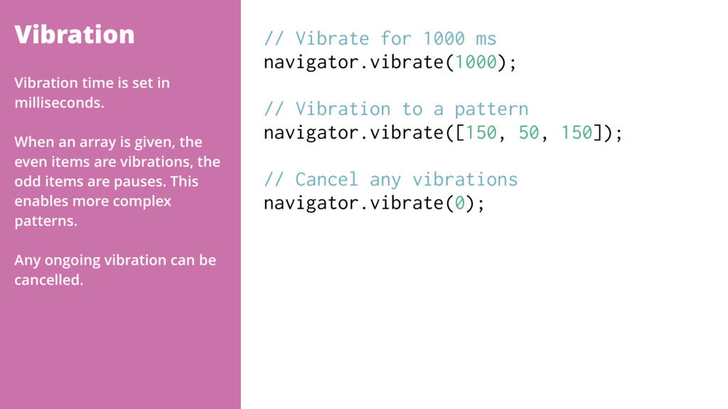 Vibration // Vibrate for 1000 ms navigator.vibr...