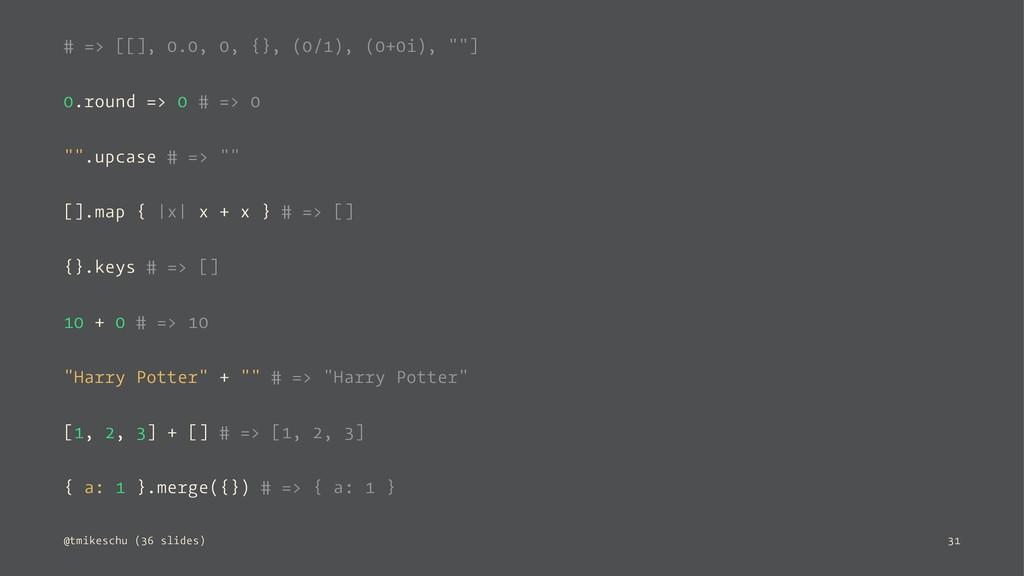 "# => [[], 0.0, 0, {}, (0/1), (0+0i), """"] 0.roun..."