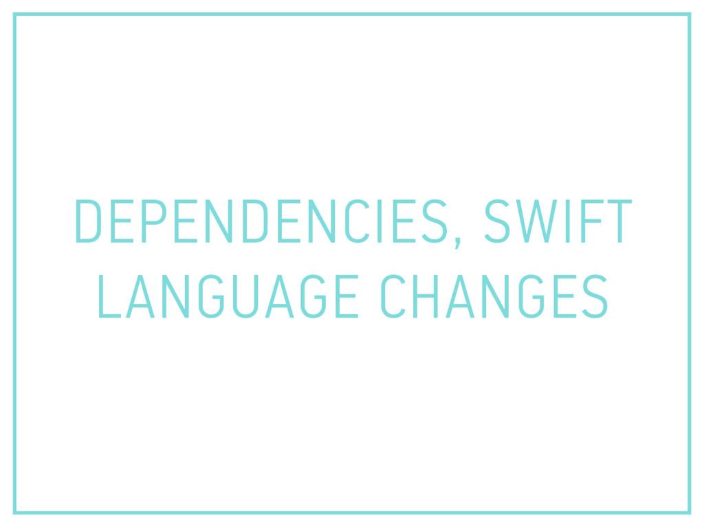 DEPENDENCIES, SWIFT LANGUAGE CHANGES