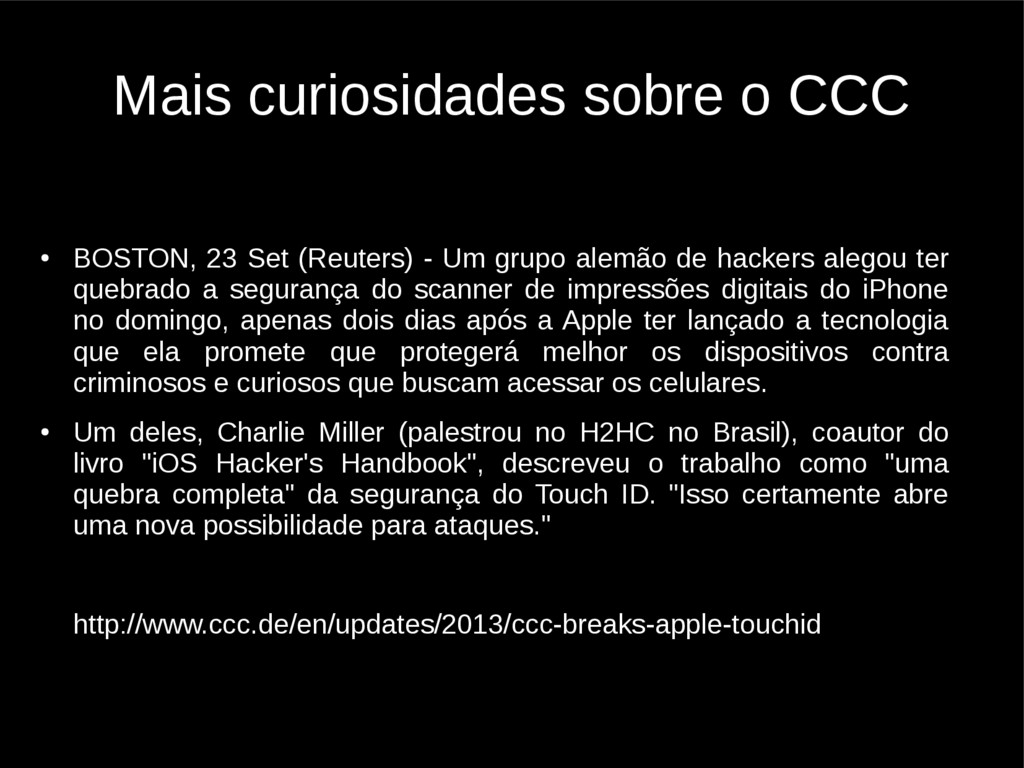 Mais curiosidades sobre o CCC ● BOSTON, 23 Set ...