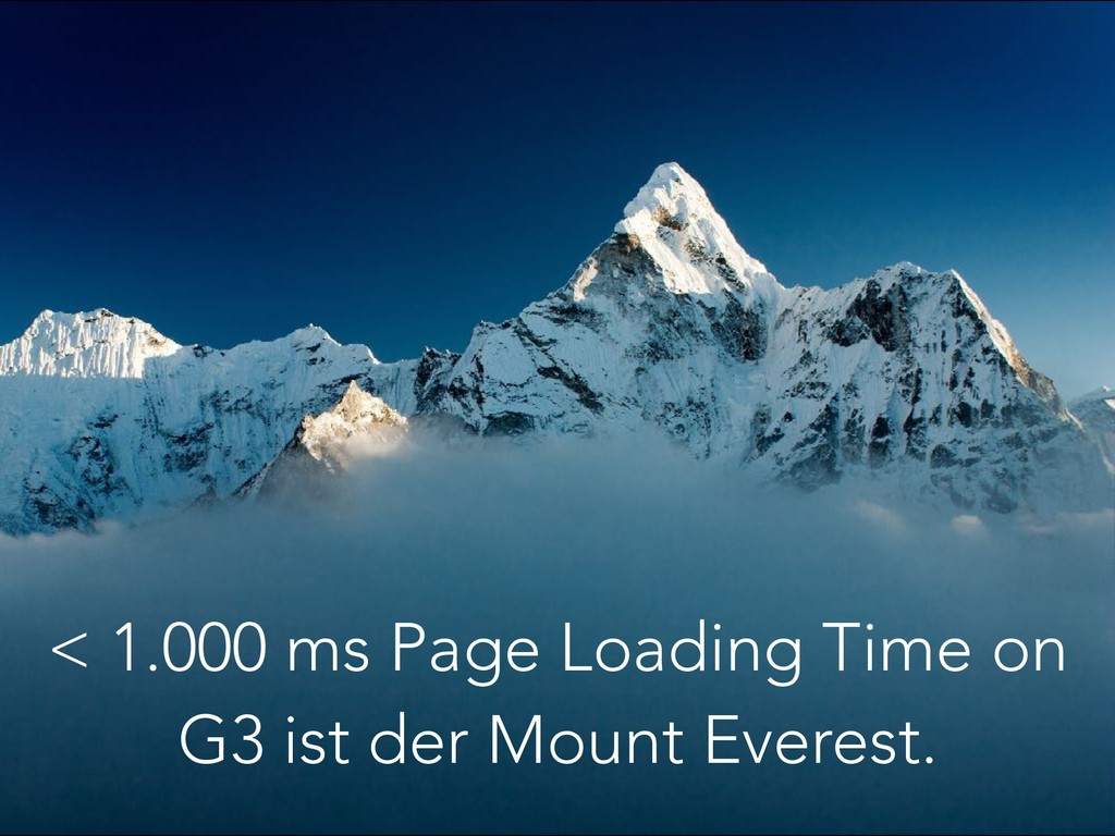 < 1.000 ms Page Loading Time on G3 ist der Moun...