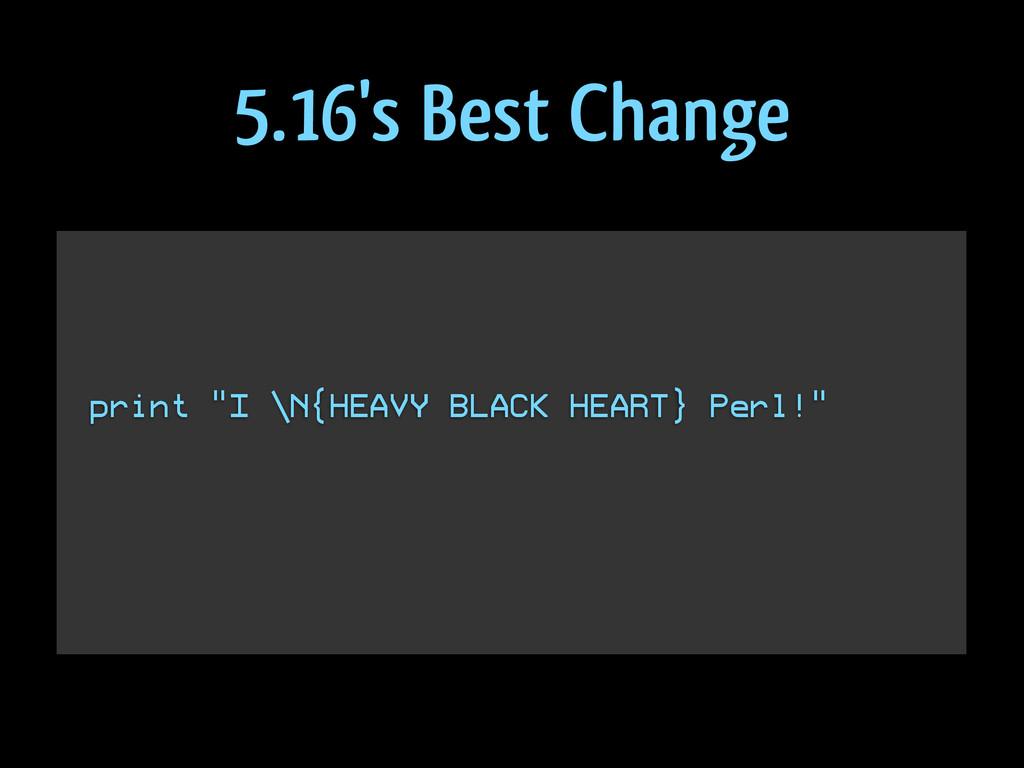"""print """"I \N{HEAVY BLACK HEART} Perl!"""" 5.16's Be..."""