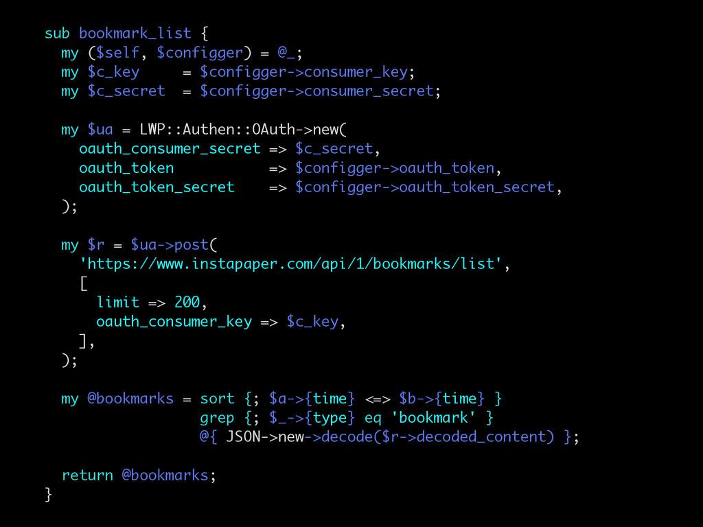sub bookmark_list { my ($self, $configger) = @_...