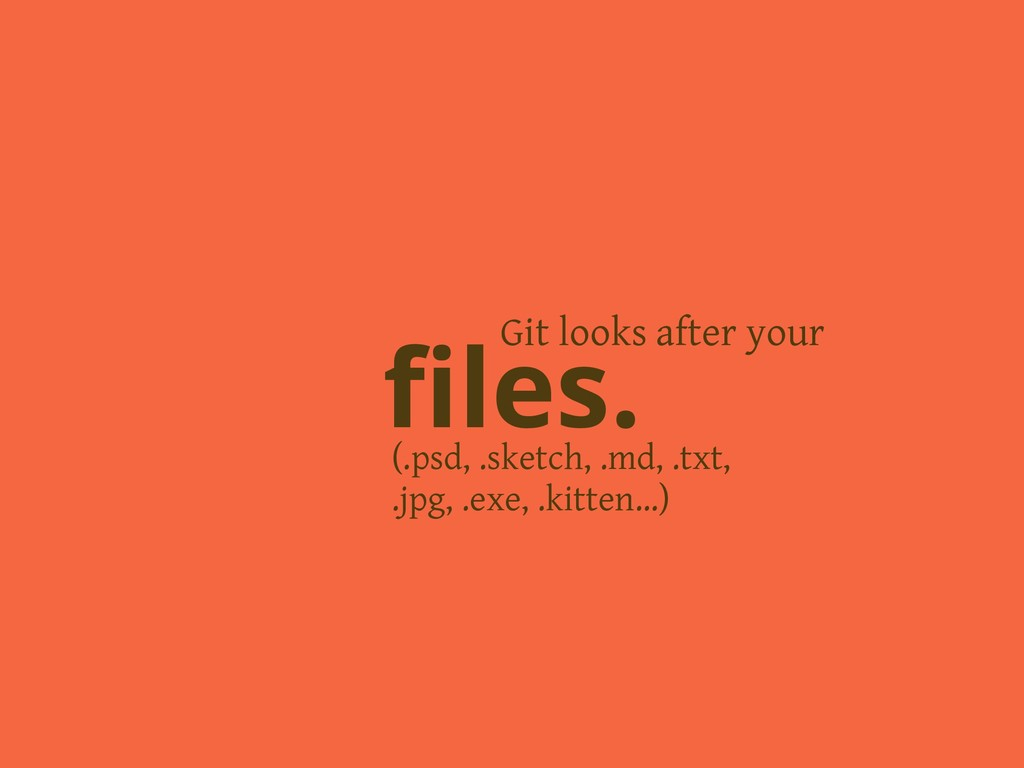 Git looks after your files. (.psd, .sketch, .md,...