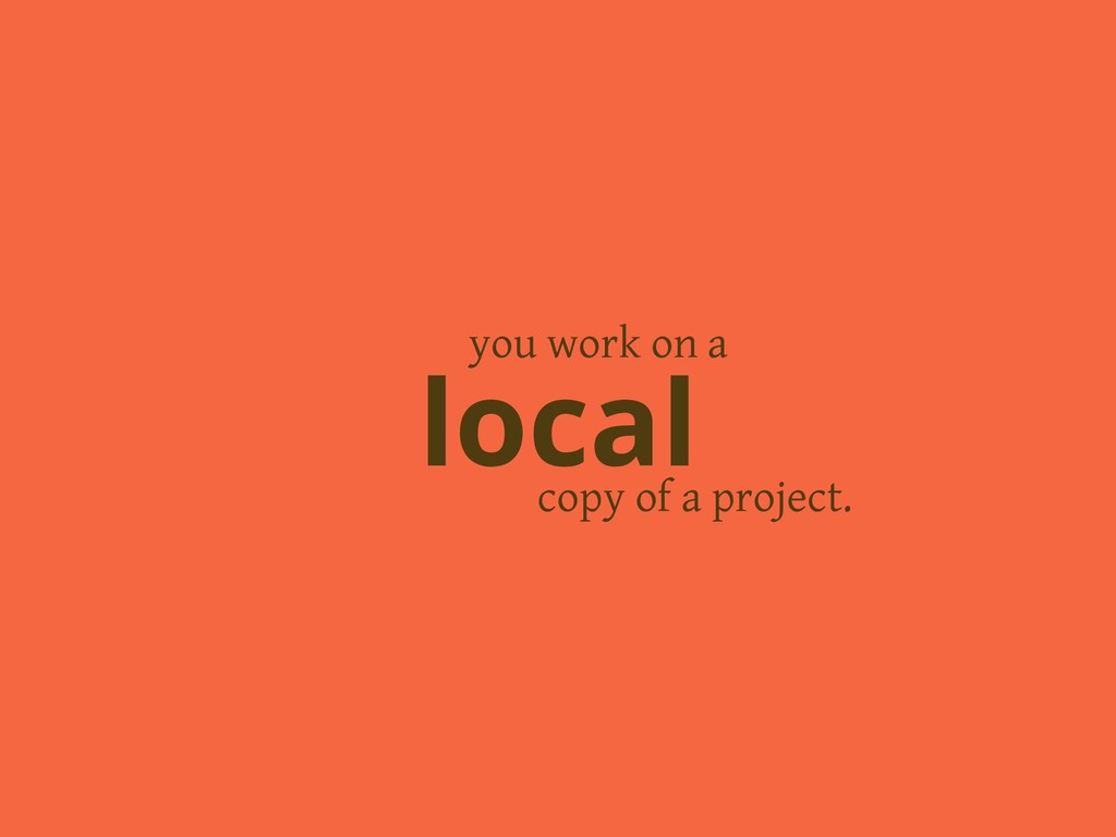 copy of a project. local you work on a
