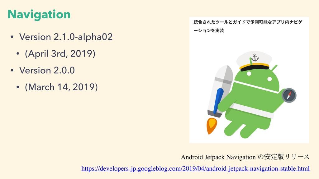 Navigation • Version 2.1.0-alpha02 • (April 3rd...