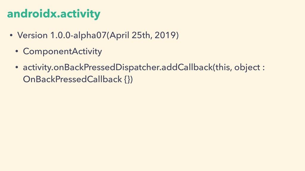 androidx.activity • Version 1.0.0-alpha07(April...