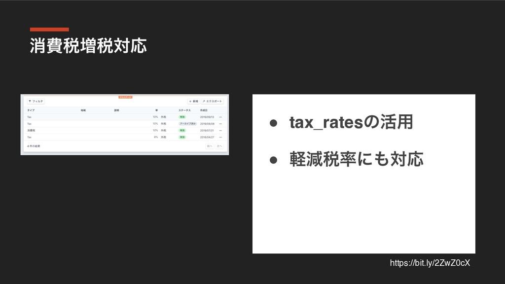 ফඅ੫૿੫ରԠ ● tax_ratesͷ׆༻ ● ܰݮ੫ʹରԠ https://bit.l...
