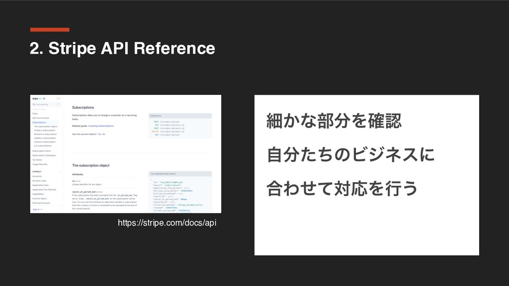 2. Stripe API Reference ࡉ͔ͳ෦Λ֬ ࣗͨͪͷϏδωεʹ ߹Θͤ...