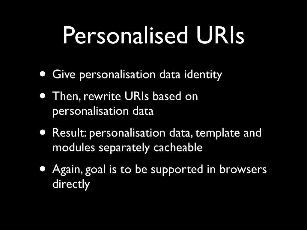 Personalised URIs • Give personalisation data i...