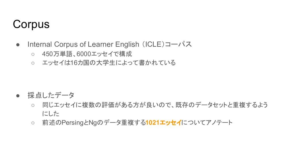 Corpus ● Internal Corpus of Learner English (IC...