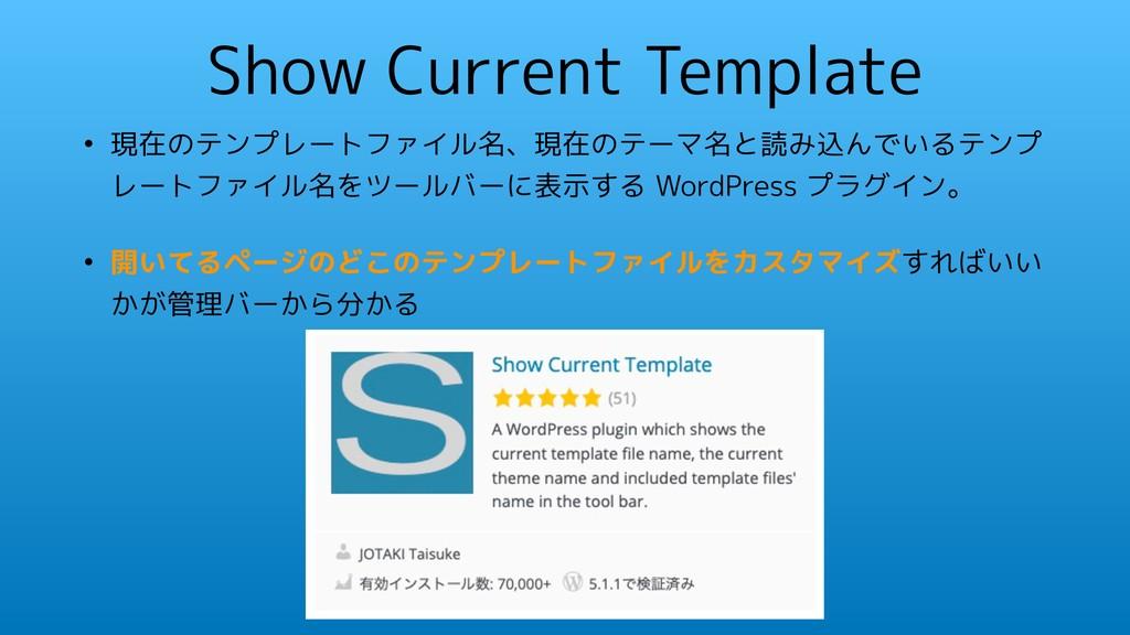Show Current Template • 現在のテンプレートファイル名、現在のテーマ名と...
