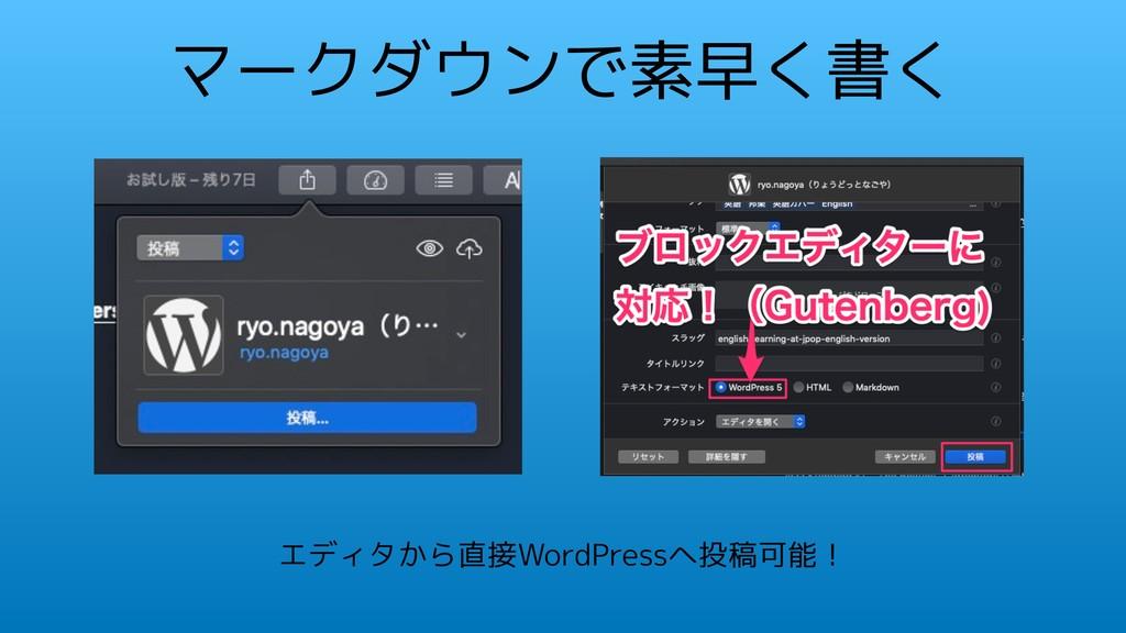マークダウンで素早く書く エディタから直接WordPressへ投稿可能!